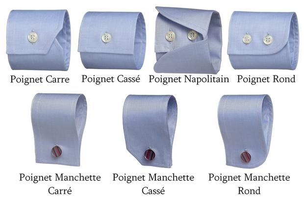 Différents types de poignet de chemise